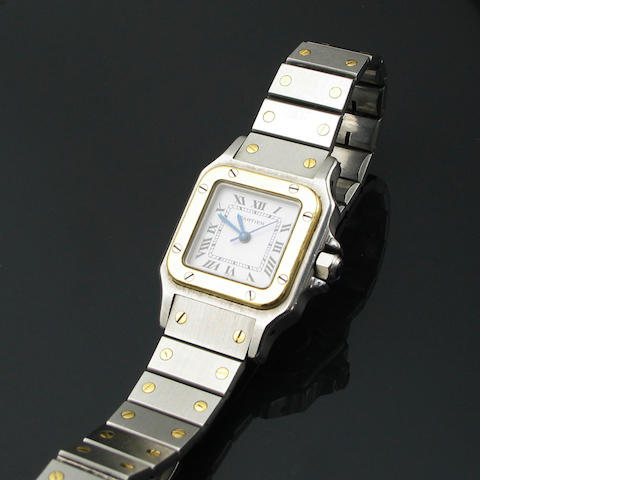 A ladies gold and stainless steel bracelet wristwatch, Cartier Santos