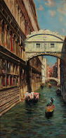 Bernardo Hay (British, born 1864) A view of a canal in Venice 28 x 14in