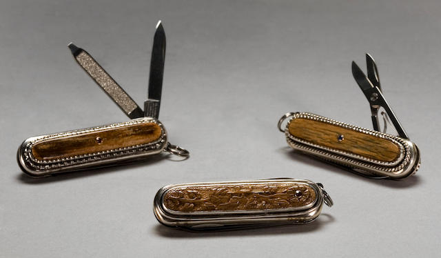 A Suite of Three Mammoth Ivory and Gemstone Pocket Knives