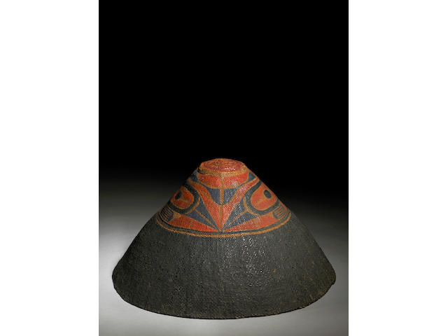A fine Nootka painted basketry hat