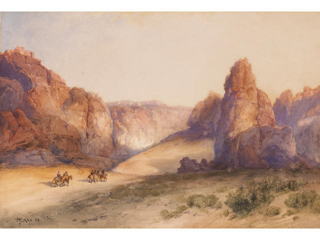 Thomas Moran (American, 1837-1926) Riders on Horseback in a Desert Canyon 14 1/4 x 20 3/4in
