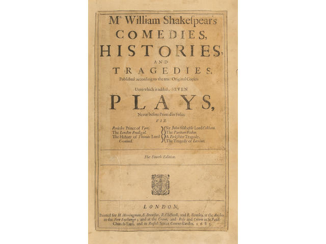 SHAKESPEARE, WILLIAM. [Works.] 4th folio. 1685