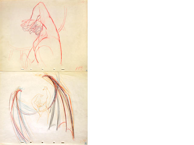 "Ten Walt Disney preliminary drawings of Chernabog from ""Fantasia"""
