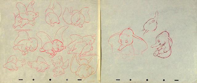 """Ten Walt Disney preliminary drawings from """"Dumbo"""""""