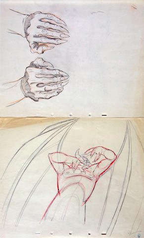 "Five Walt Disney drawings of Chernabog from ""Fantasia"""