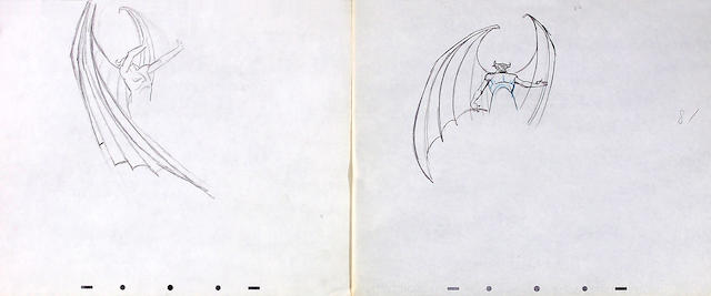 "A collection of twelve preliminary drawings of Chernabog from ""Fantasia"""