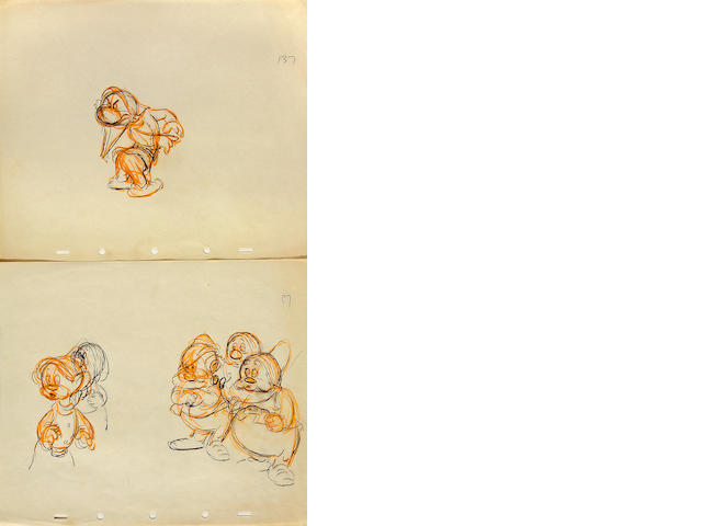 "Eight Walt Disney rough drawings of the dwarfs from ""Snow White and the Seven Dwarfs"""