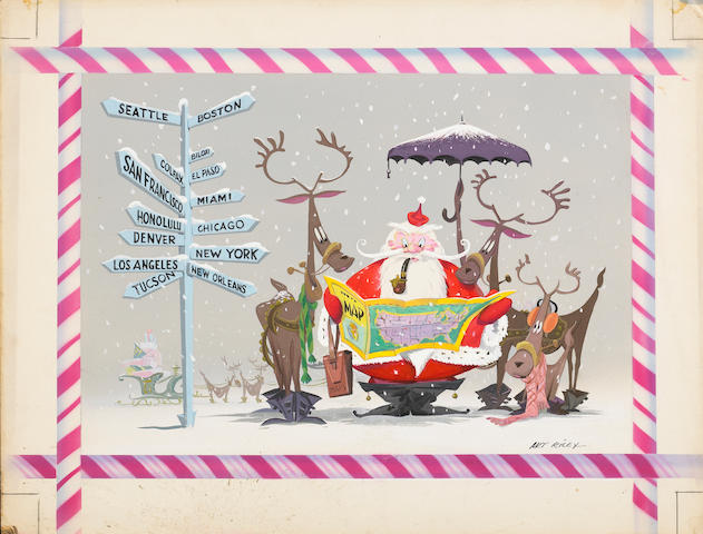 Art Riley. Illustration, gouache on board of Santa and reindeer