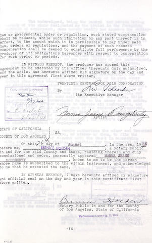 A Marilyn Monroe/Norma Jeane Dougherty first contract from 20th Century Fox relating to her work, her name change, and her termination, signed four times, 1946