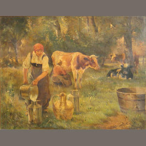 Joseph Julien (Belgian 19th Century) Milking Time 14 x 17 3/4in
