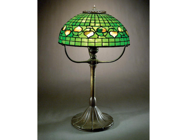 A Tiffany Studios Favrile glass and bronze Vine and Leaf table lamp