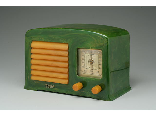 Fada 53X 1938   Green and yellow marbleized case with yellow knobs and louvered grille.   Height 5 5/8in; length 8 3/4in; depth 4 1/2in.  Literature: John Sideli, Classic Plastic Radios of the 1930s and 1940s, New York, 1990, illustrated on page 63.