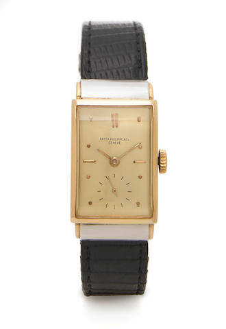 Patek Philippe. A fine and rare 18k rose gold and platinum rectangular wristwatch  with hooded shouldersRef.516, Case No.625829, Movement No.834858, made in 1942, sold on August 26, 1942