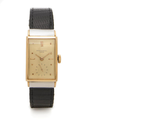 Patek Philippe. A fine and rare 18k rose gold rectangular wristwatch 18k white gold covered shoulders Ref.516, Case No.625829, Movement No.834858, circa 1941