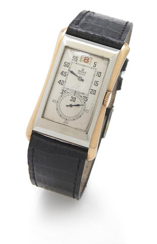 Rolex. A fine and very rare 18k white and rose gold flared rectangular jump-hour wristwatch Prince-brancard, Ref.1491, Case No.6501, Movement No.79294, English import mark for 1931