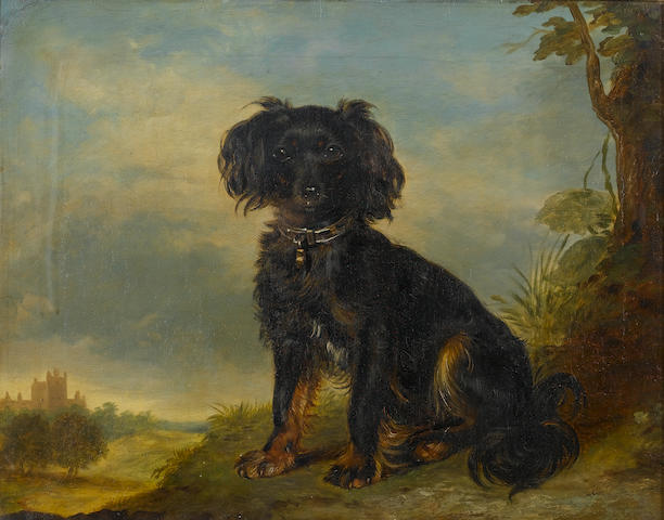 Attributed to Gourlay Steel (British, 1819-1894) A toy terrier in a landscape with a baronial hall i