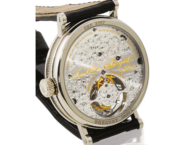 Breguet. A rare 18ct white gold manual wind tourbillon wristwatchRef: 3357, Movement number 958, Case number 3427, Circa 2000