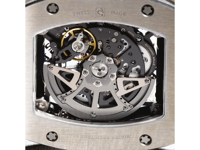 Richard Mille. A fine and rare automatic titanium wristwatch with calendar RM010, No.AG/TI 761, Movement No.6208, made in 2007