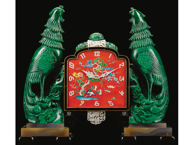"""Property from The Estate of Ernestine Koska Smith"" Vacheron & Constantin. An exceptional malacite, black onyx, gold and diamond set eight-day going Art Deco Chinoiserie desk clock Movement No.406420, elaborate case by Verger Frères, 1920's, Retailed by Osterag, Paris."