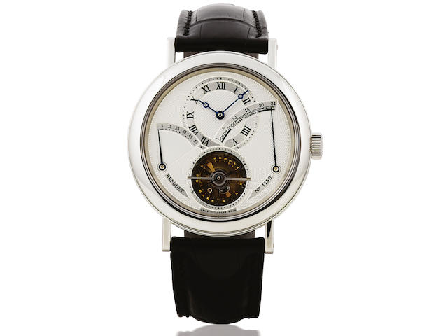Breguet. A fine and rare platinum one-minute tourbillon wristwatch with 55 hours power reserve and retrograde 24 hours indicationRef:3657PT, No.1159, Sold in Dec. 2003