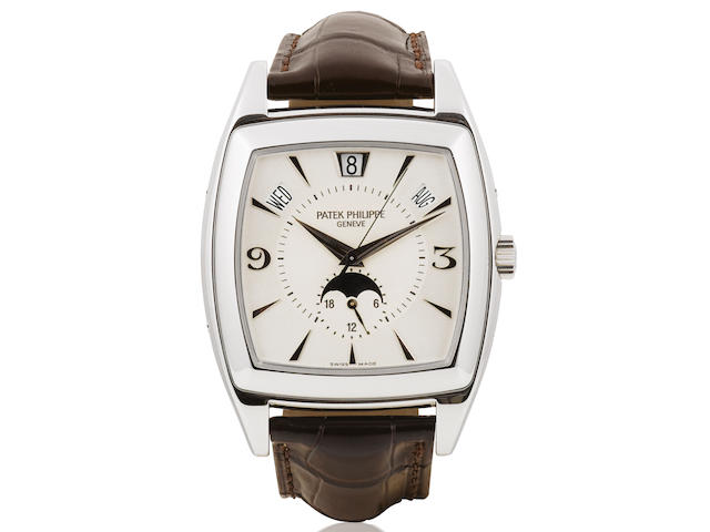 Patek Philippe. A fine 18ct white gold automatic wristwatch with annual calendar and moonphase Gondolo Ref:5135G, Case No. 4356268, Movement No. 3424370 Sold in November 2006