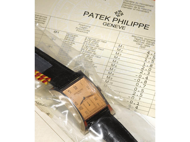 Patek Philippe. A fine and very rare 18ct white gold commemorative limited edition flared rectangular wristwatch Pagoda, Ref.5500G, Case No.4014925, Movement No.1858916, made in 1997