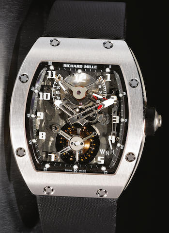 Richard Mille. A fine and rare tourbillon 18ct white gold wristwatch RM002-V2, No. AE WG / 111, Movement No.008, made in 2005