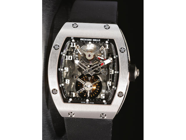 Richard Mille. A fine and rare tourbillon 18ct white gold wristwatchRM002-V2, No. AE WG / 111, Movement No.008, made in 2005