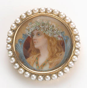 A pearl, miniature painting and 18k gold brooch, Shreve & Co.