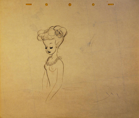 "A group of eight Walt Disney preliminary animation drawings from ""Fantasia"""