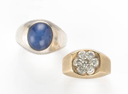 A star sapphire and 18k white gold gent's ring together with a diamond and 14k gold gent's ring