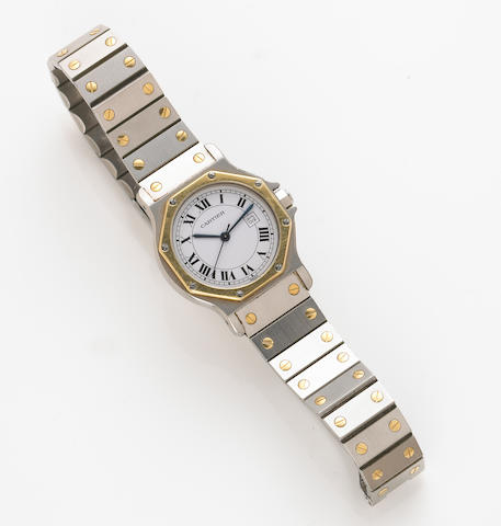 A Cartier de Santos, Swiss, automatic, 18k gold and stainless steel wristwatch with calendar