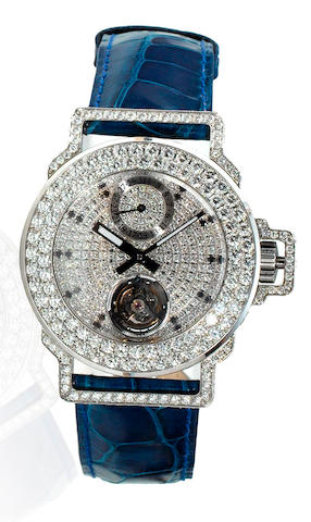 Jacob & Co. A fine and rare platinum and diamond Tourbillon wristwatch Produced in a limited run of 18 pieces, No. 2 /18, recent