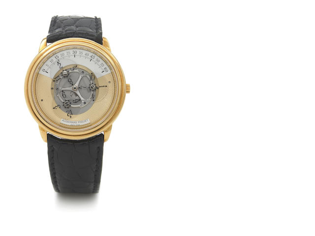 Audemars Piguet. A fine 18k gold self-winding wristwatch with digital revolving disc hour display Star Wheel Automatic, Case No.D15270, 1990s