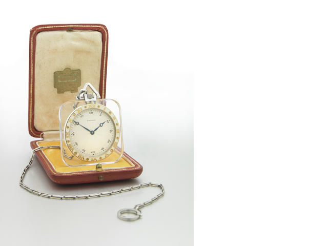 Cartier. A fine and very rare 18k gold, platinum, enamel and rock crystal cushion shape pocket watch with platinum chain  Case No.????, Movement No.6049, Stock No.9125, 1920s