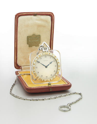 Cartier. A very rare cushion-shape 18k gold, platinum, enamel and rock crystal pocket watch with platinum chain Case No.25018-6049, Movement No.6049, Stock No.9125, 1920s