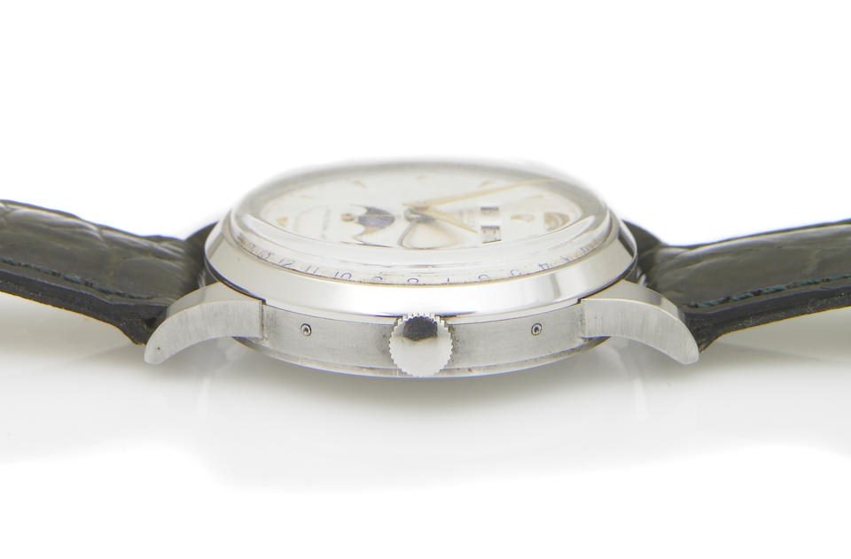 Rolex. An fine and rare stainless steel self-winding triple calendar wristwatch with phases of the moonPrecision, Ref.8171, Case No.820727, made circa 1952