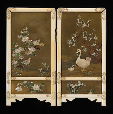 A fine Shibayama lacquer screen, Meiji Period, with green storage box