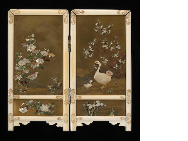 A fine Shibayama lacquer screen, Meiji Period, with green storage box