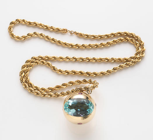 An aquamarine, pink sapphire and 14k gold ball-form pendant with rope chain