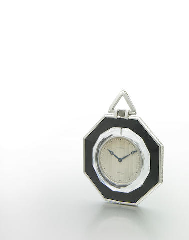 Cartier, France. A very rare octagonal cased platinum, diamond, rock-crystal and onyx pocket watch Case No.12807-3781, Stock No.4350, 1940s