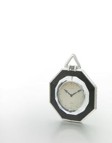 Cartier, France. A very rare octagonal cased platinum, diamond, onyx and rock-crystal pocket watchCase No.12807-3781, Stock No.4350, circa 1918