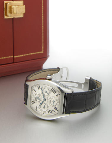 Cartier. A fine and rare platinum special-edition tonneau-shape dual time zone perpetual calendar wristwatch with leap year indicatorTortue Quantieme Perpetual, Privee Collection, No.037, made circa 2004