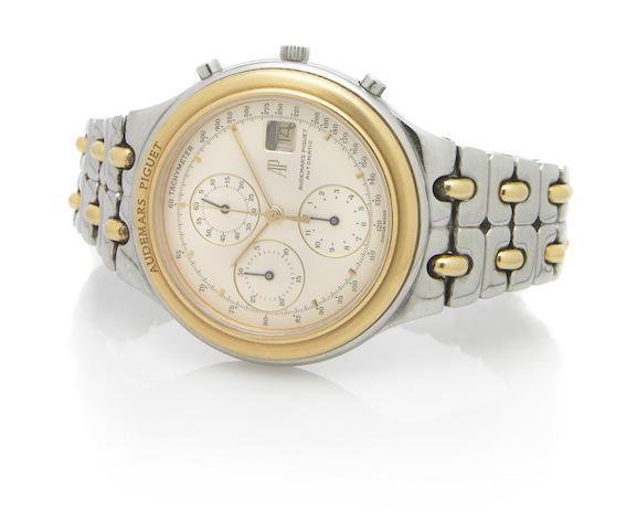 Audemars Piguet. A large stainless steel and gold self-winding chronograph bracelet watch with calendar Ref.C38171, 1990s