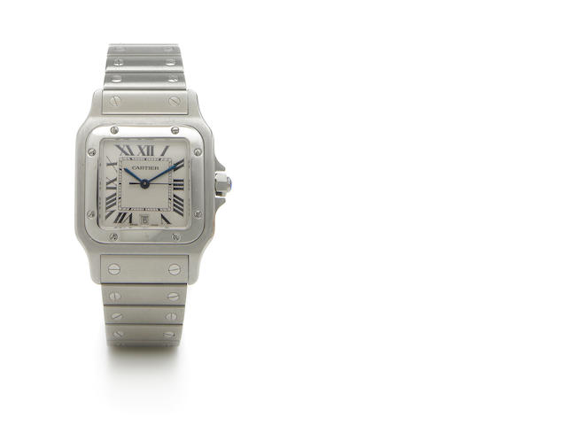 Cartier. A stainless steel quartz calendar bracelet watch Santos, Ref.1564, circa 2002