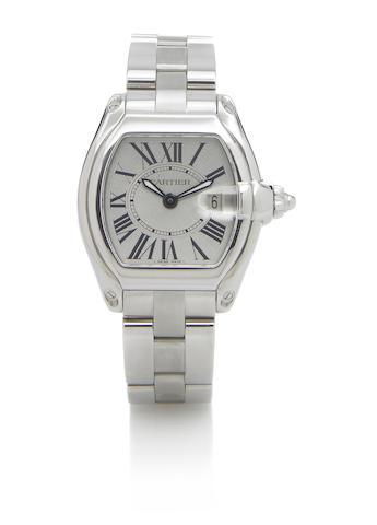 Cartier. A mid-size tonneau-shape stainless steel quartz calendar bracelet watchRoadster, Ref.2675, circa 2005