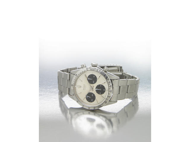 Rolex. A fine and rare stainless steel chronograph bracelet watchCosmograph Daytona, Ref.6262/6239, made circa 1970