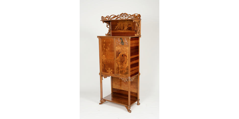 A fine Gallé fruitwood marquetry and bronze Libellule/Grenouilles cabinet