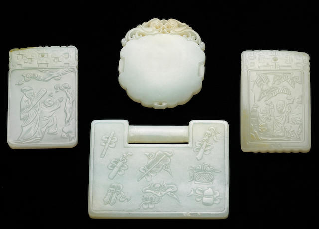 Four white jade ornaments Qing Dynasty, 19th Century