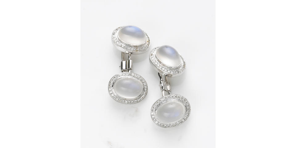 A pair of moonstone, diamond and 18k white gold cufflinks